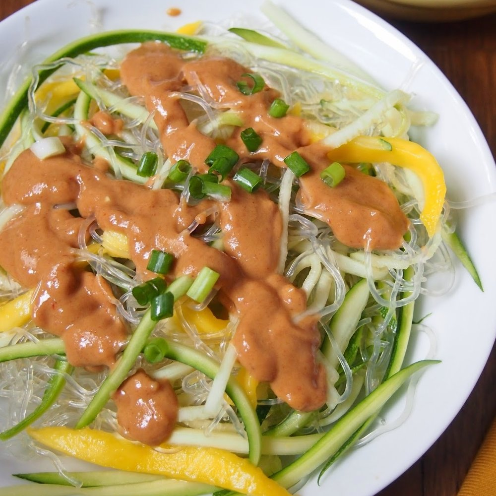 Kelp and Zucchini Noodle Salad with Mango and Peanut Sauce