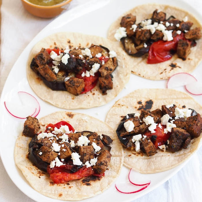 Grilled Pork Tacos with Charred Tomatoes and Eggplant