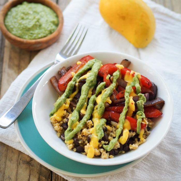Vegan Millet and Black Bean Fajita Bowl