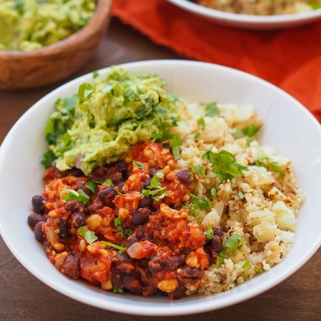 Chipotle Tempeh and Black Beans with Cauliflower Rice and Kale Guacamole