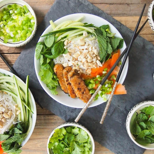 Vegan Vietnamese Brown Rice Noodle Salad with Tempeh