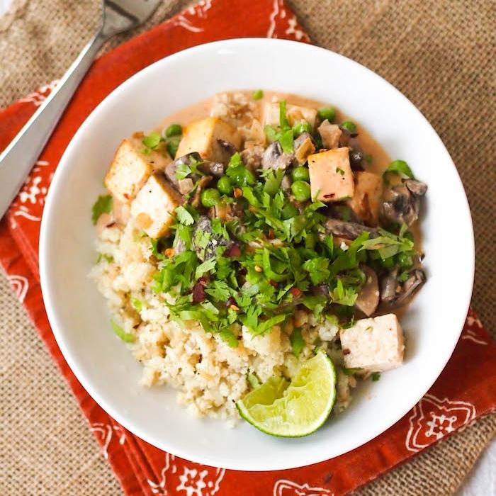 Vegan Red Curry Tofu and Mushrooms with Cauliflower Rice