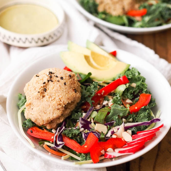Asian Tempeh and Quinoa Salad with Wild Greens