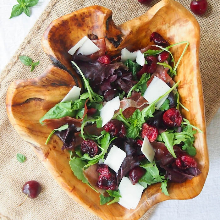 Cherry Arugula Salad with Crispy Prosciutto