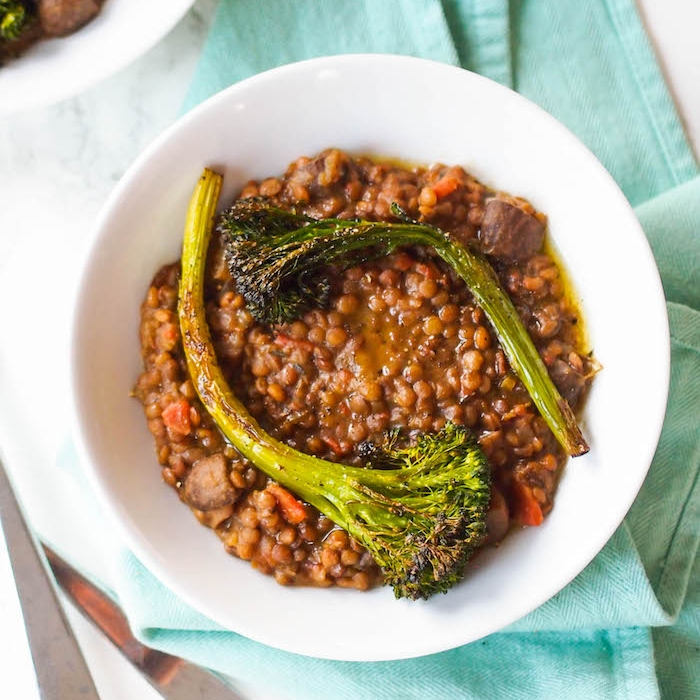 Creamy Lentils and Mushrooms with Roasted Broccolini