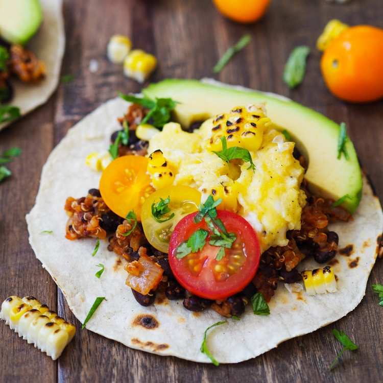 Spicy Quinoa and Black Bean Breakfast Tacos