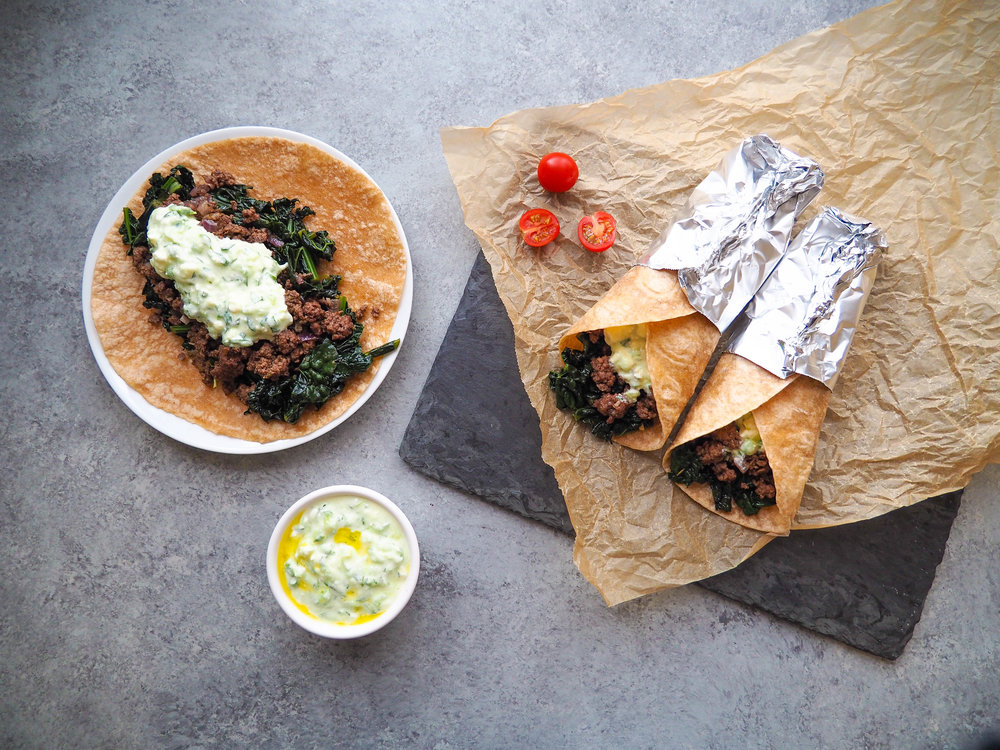 Greek Tacos with Kale and Creamy Feta Sauce is a meal the whole family will love!