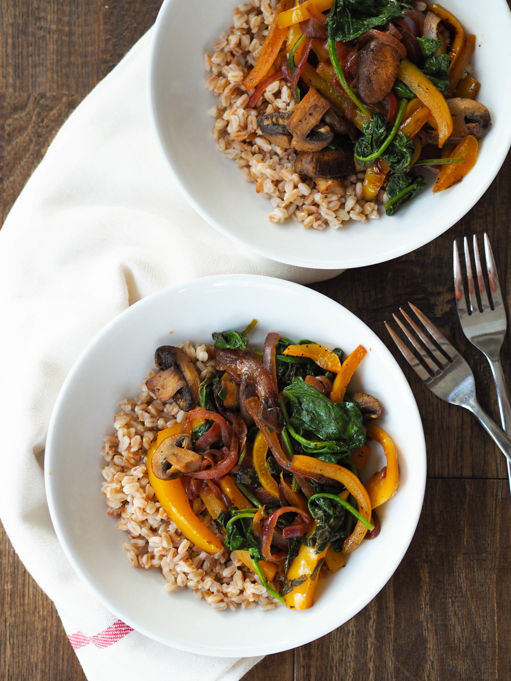 If you're craving veggies, you'll love this simple Black Pepper and Lemon Sauteed Vegetables with Farro! Add chicken or chickpeas to bulk it up with protein!