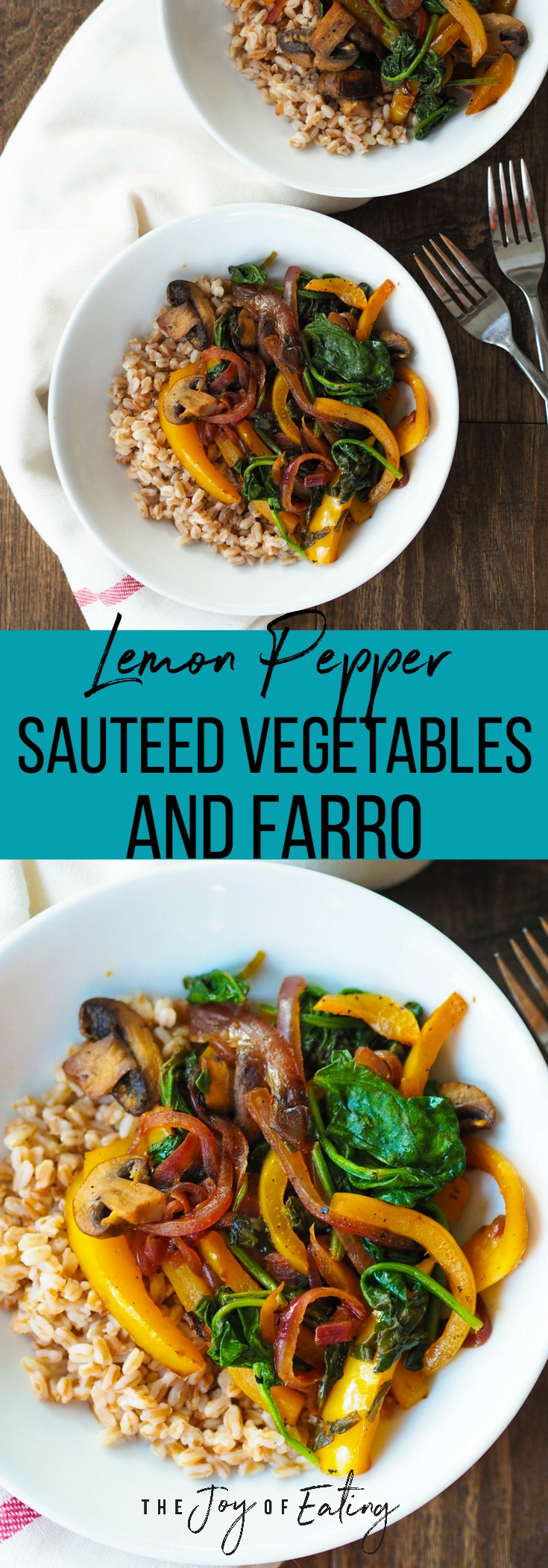 Easy Black Pepper and Lemon Sauteed Vegetables with Farro is a super tasty vegan meal! Takes less than 30 minutes of prep time!