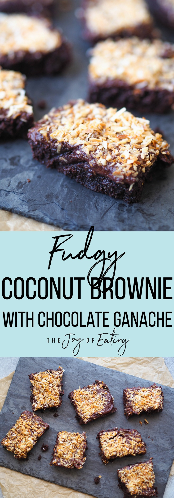 If you love fudgy brownies, these fudgy coconut brownies with chocolate ganache are perfection! #chocolate #brownie #coconut #baking