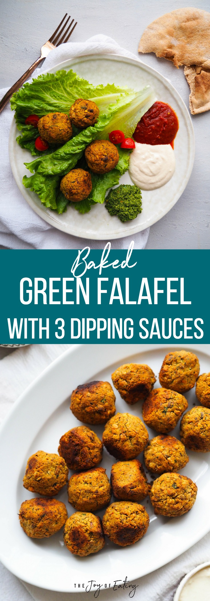 Make these easy baked green falafel, which come together in a food processor! They're studded with pistachios and tons of herbs! Serve with your choice of three dipping sauces - spicy harissa tomato sauce, tahini yogurt and green chutney! #vegan #vegetarian #healthy