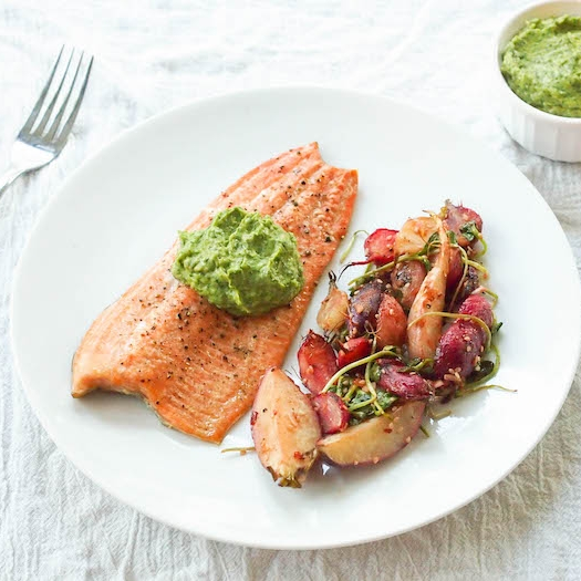 Cedar Plank Trout with Ginger-Cilantro Guacamole