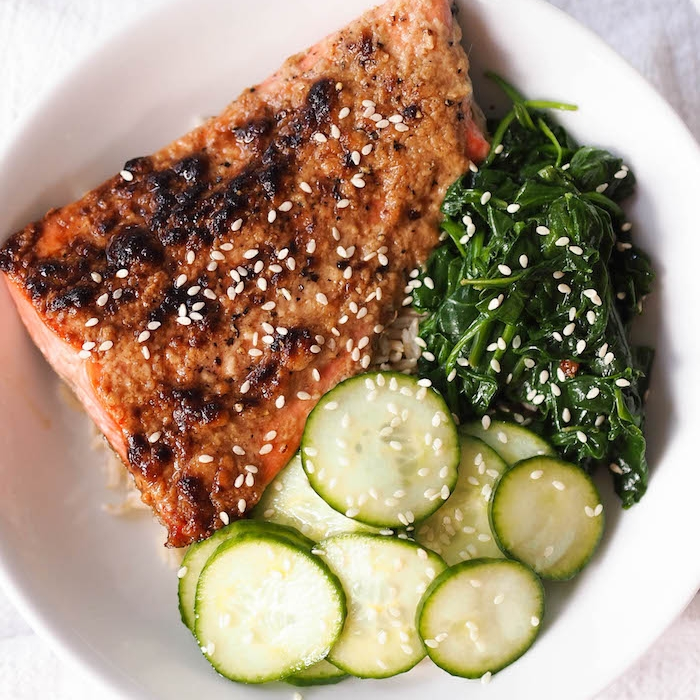 Miso Roasted Salmon Bowl with Garlicky Spinach and Quick Pickles