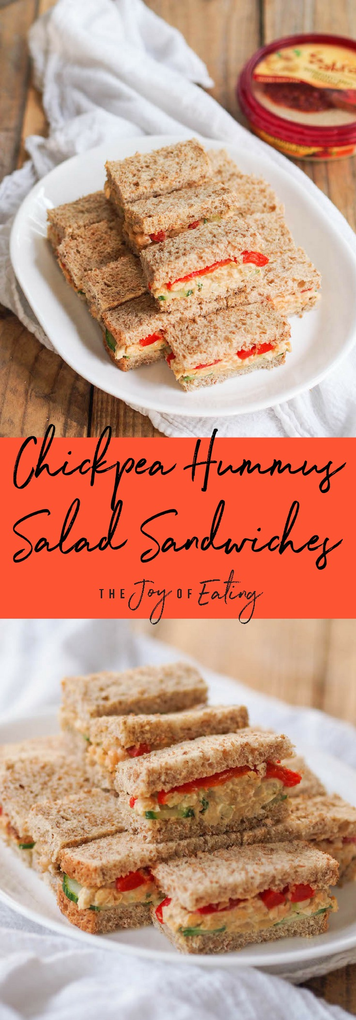 These vegan chickpea hummus salad sandwiches are perfect for tailgating! Swap mayo for creamy hummus! #tailgating #hummus #vegan #vegetarian #sandwich