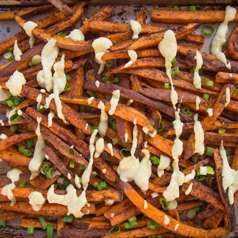 Spicy Sweet Potato Fries with Vegan Cilantro Cashew Dipping Sauce