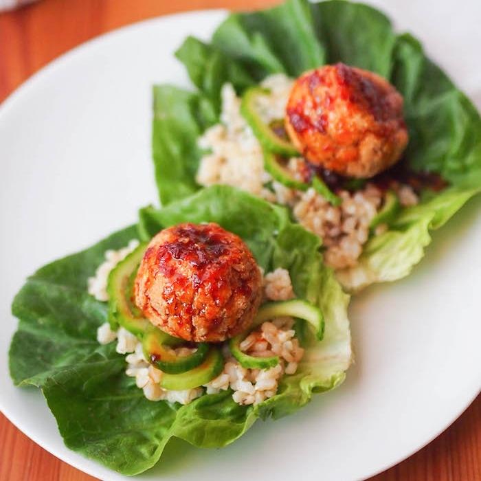 Bulgogi Tofu Meatball Lettuce Wraps