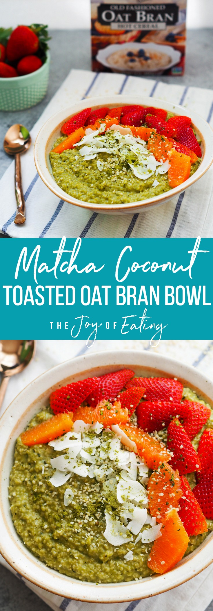 If you like oatmeal, you'll LOVE oat bran! It's ultra creamy and cooks in just a few minutes. Try it in this matcha coconut toasted oat bran bowl that's packed with antioxidants and filling fiber! #oatmeal #breakfast #glutenfree #vegan #matcha