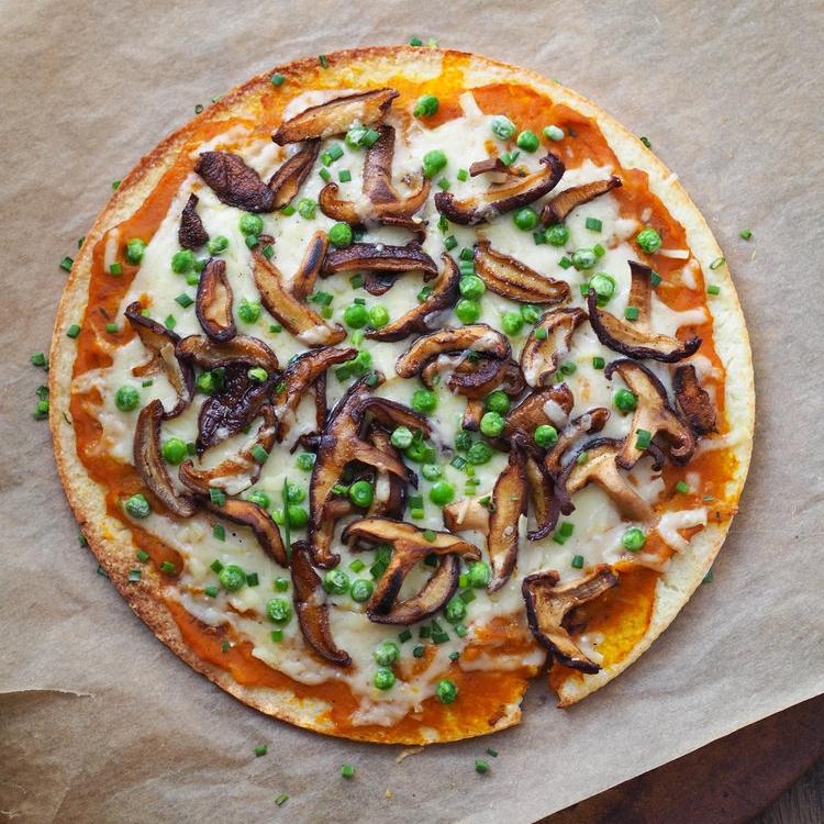 Cauliflower Crust Pizza with Pumpkin, Shiitakes and Gruyere