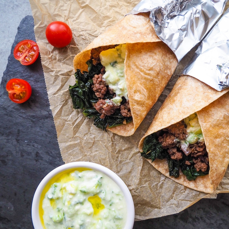Greek Tacos with Garlicky Kale and Tzatziki