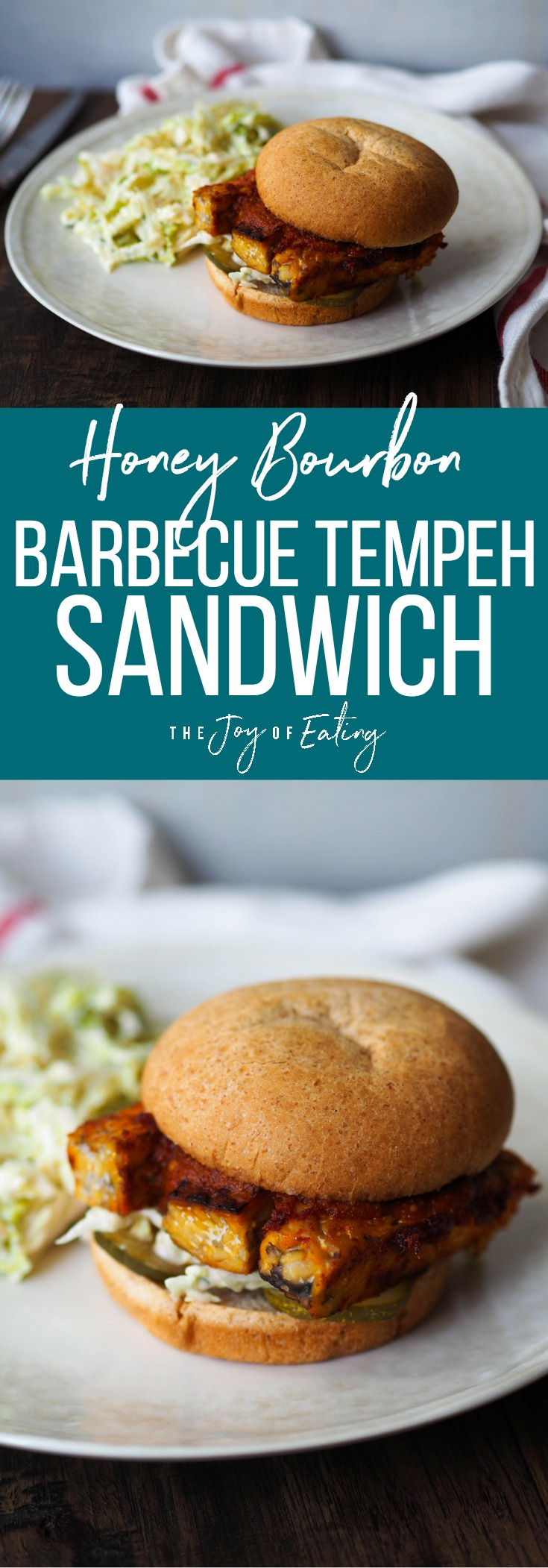 Honey bourbon barbecue tempeh! Try this vegan spin on the barbecue sandwich, made with a tangy, lower sugar honey bourbon barbecue sauce! #barbecue #vegan #vegetarian #healthyrecipe #meatlessmonday #southern #sandwich