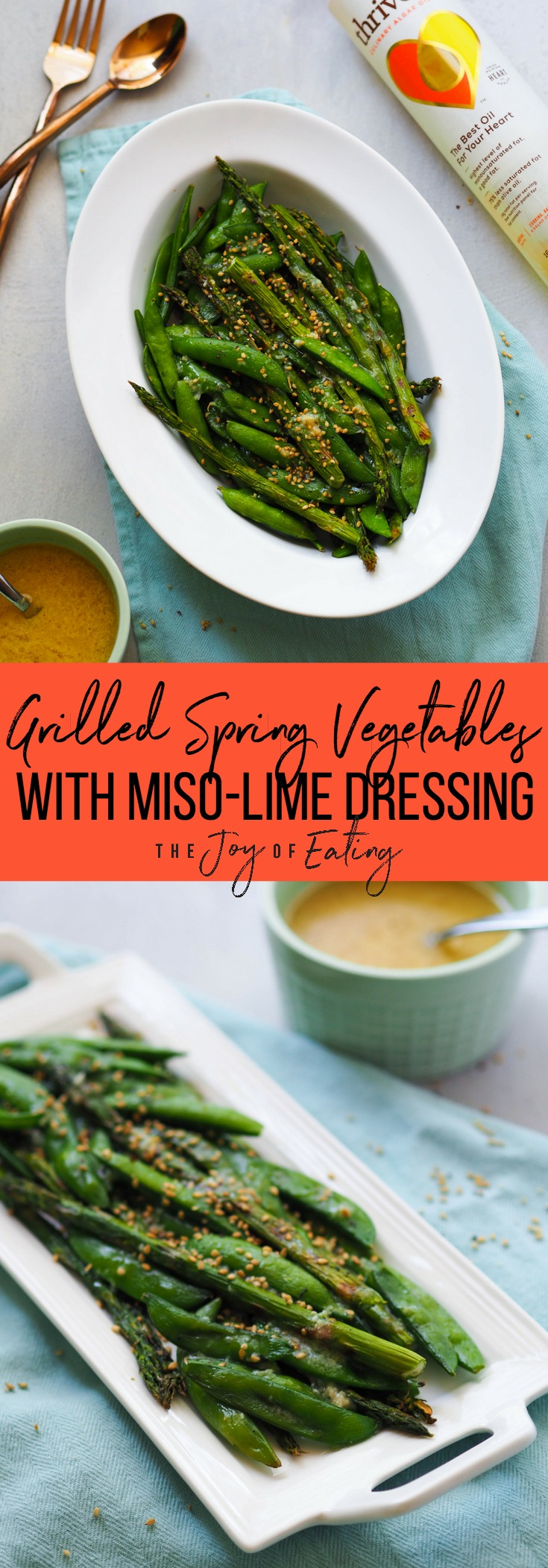 Grilled Spring Vegetables with Miso-Lime Dressing! Throw seasonal veggies on the grill, then drizzle with a probiotic rich miso-lime dressing and sprinkle with sesame seeds! #vegetarian #grilling #spring #sidedish #asparagus #probiotic #vegan