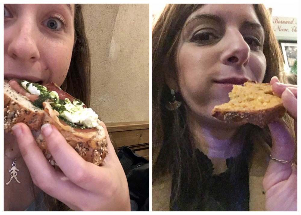 "Enjoying bread in Paris (Rachael note: DYING over here at Lauren recreating the ""best bread ever"" selfie I took after accidentally drinking a half a bottle of wine on an empty stomach with our 80-year old Parisian artist airbnb host while waiting for my husband)"