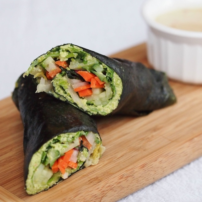 Veggie Nori Roll Wrap with Edamame Spread and Tahini Dipping Sauce
