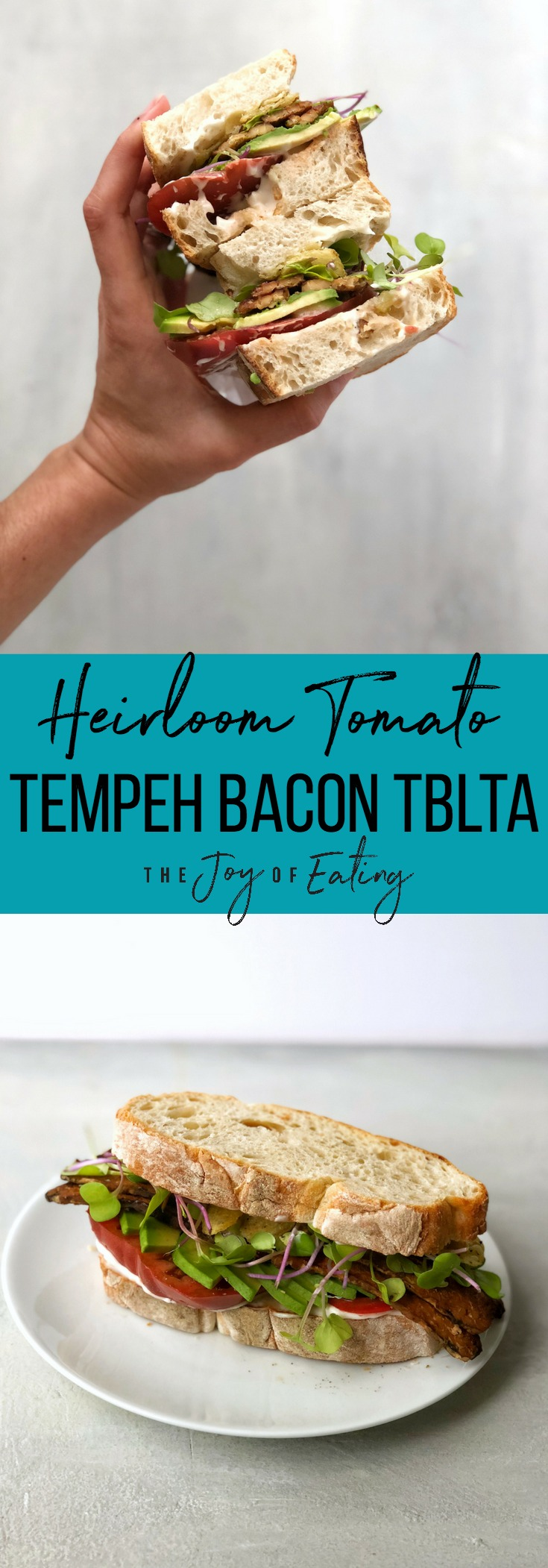 The most perfect summer tomato sandwich! Make this heirloom tomato tempeh bacon TBLTA, topped with avocado, smokey tempeh bacon, and crunchy salt and pepper kettle chips! #sandwich #summer #vegetarian #vegan #easyrecipe #tomato