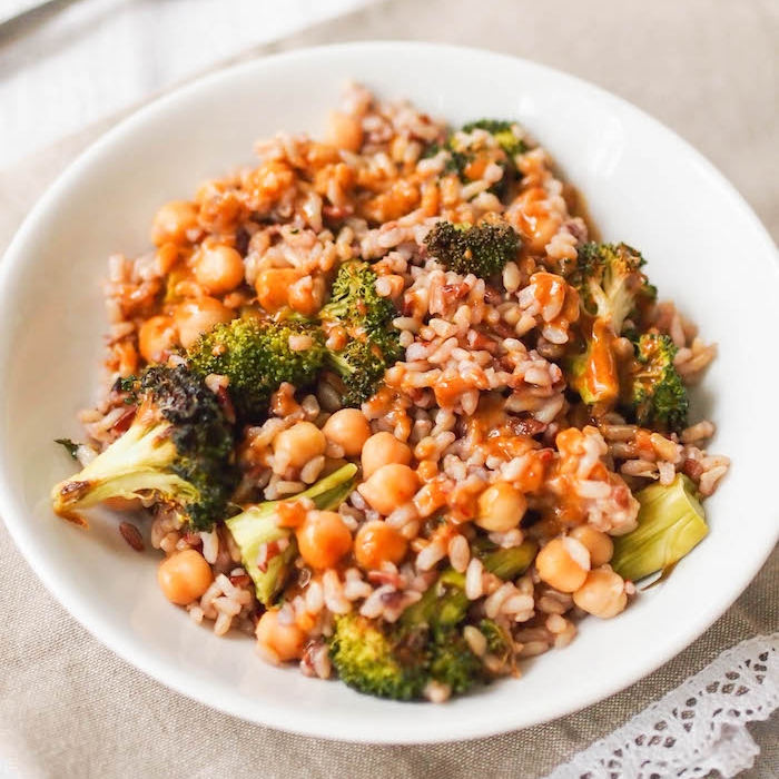 Brown Rice Bowl with Roasted Broccoli, Chickpeas and Mustard-Soy Sauce