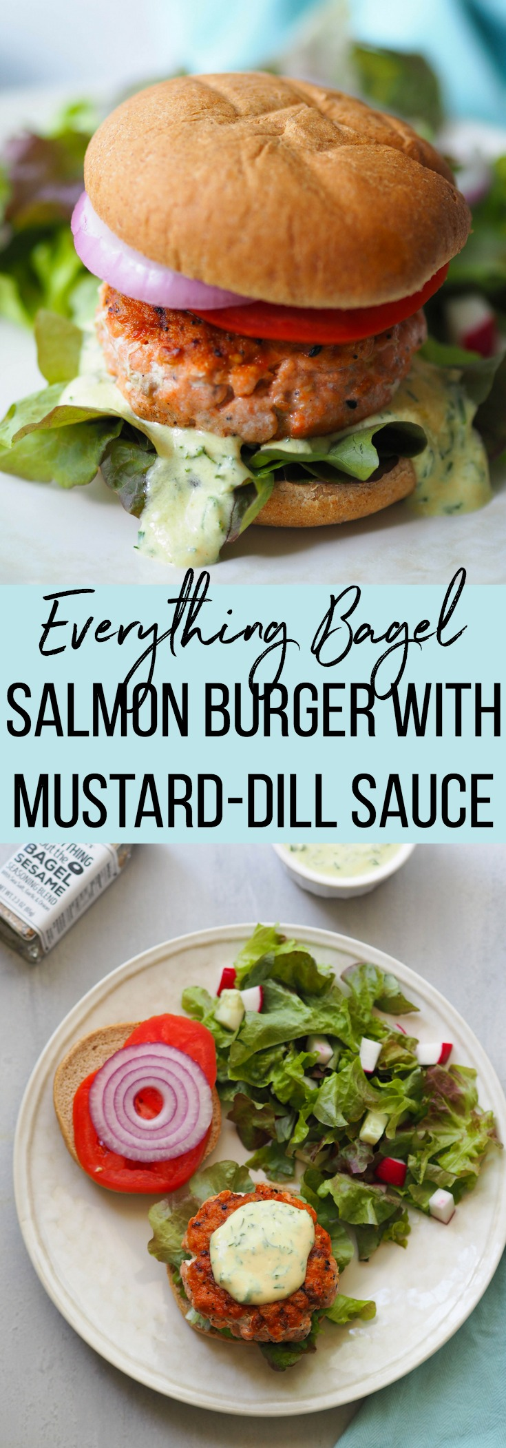 Everything bagel salmon burger is flavored with Trader Joe's Everything But The Bagel seasoning and topped with a creamy mustard-dill sauce! #burger #salmon #easyrecipe #weeknightrecipe