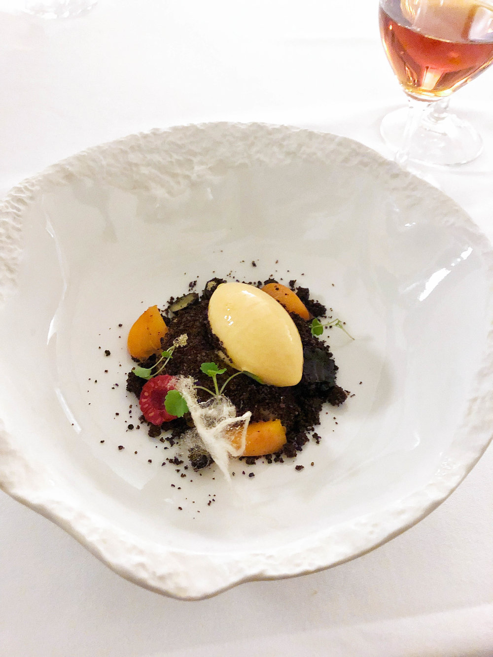 Mandarin cream over a chocolate and carob crumble with apricot-eucalyptus sorbet