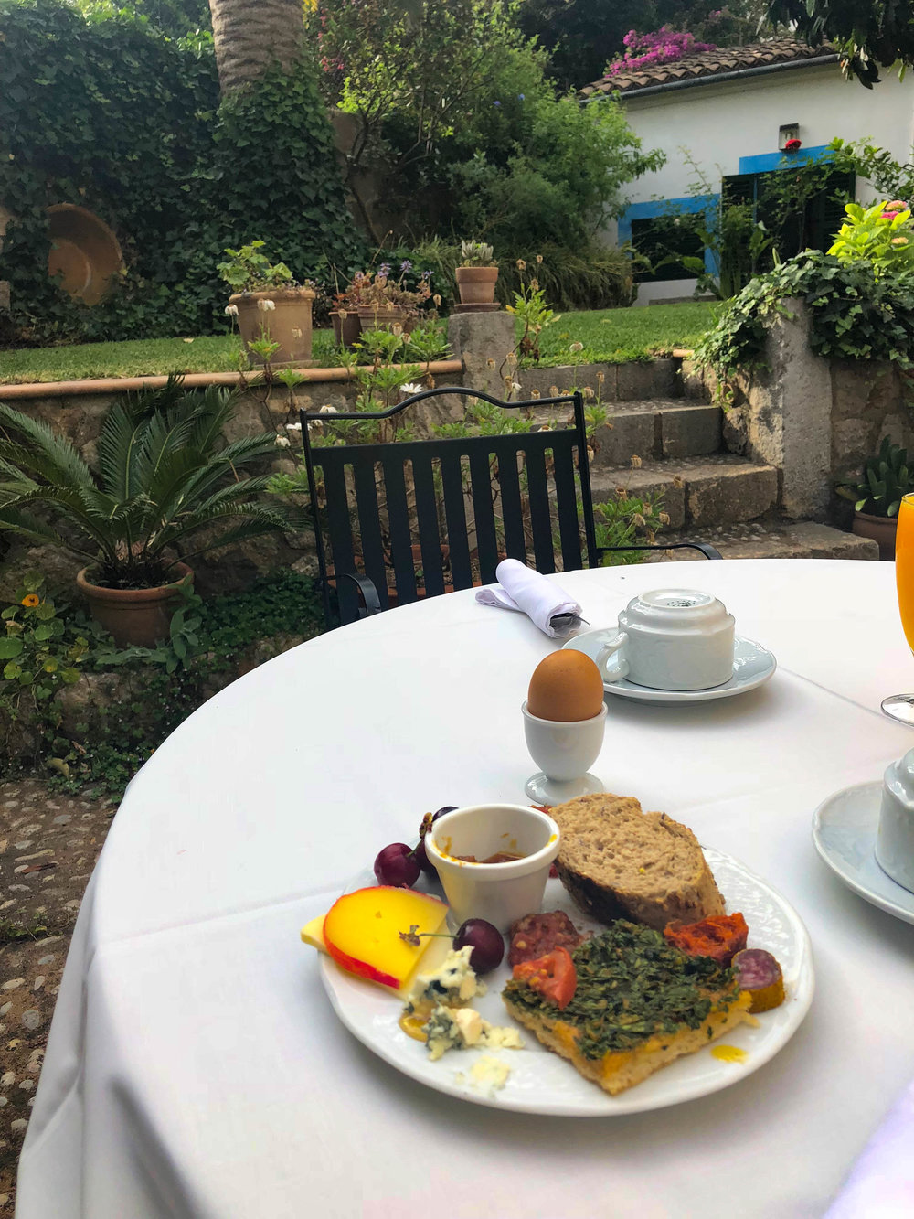 Breakfast in our hotel garden in Soller