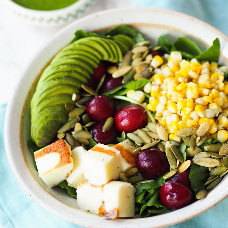 Baby Kale Salad with Grilled Halloumi, Cherries and Charred Corn