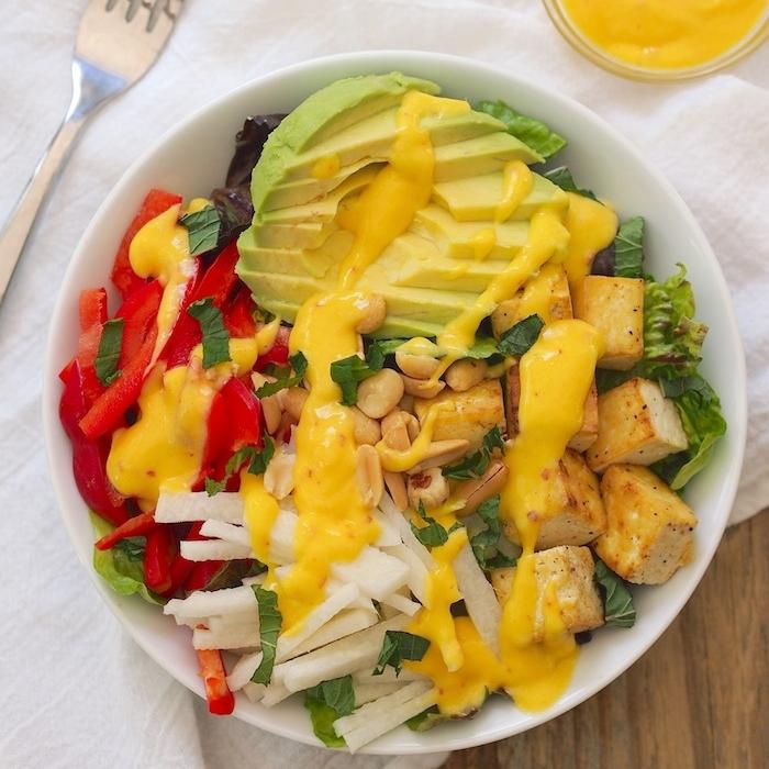 Tropical Tofu Salad with Mango-Macadamia Dressing