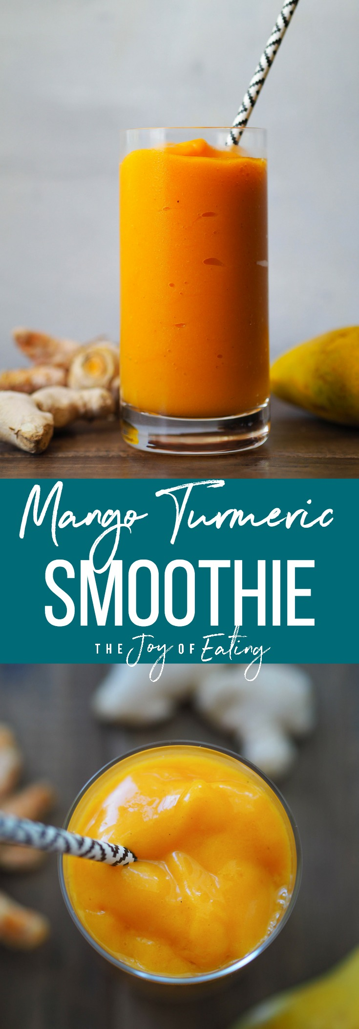 Make this creamy and refreshing mango turmeric smoothie! Packed with antioxidant rich ginger and turmeric for a spicy kick! #smoothie #turmeric #ginger #vegan #breakfast