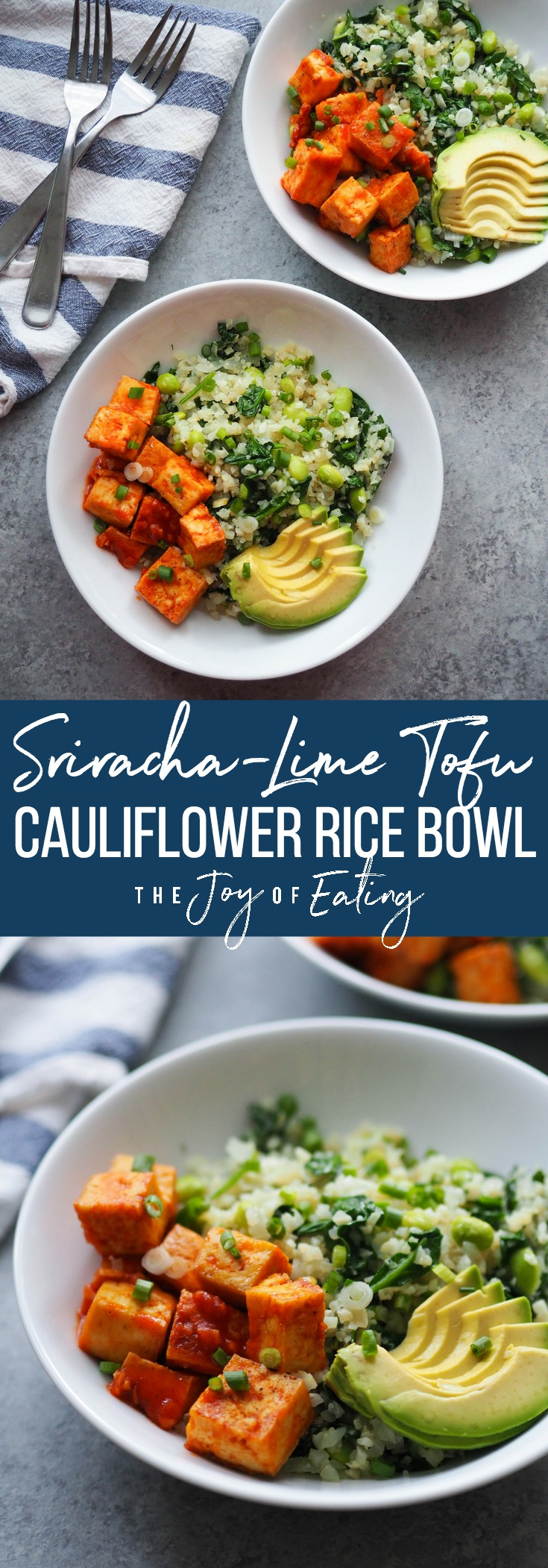 Sriracha-Lime Tofu Cauliflower Rice Bowl! Top garlicky sauteed cauliflower rice with crispy baked tofu in a spicy sriracha-lime sauce! Packed with protein and veggies! #vegan #vegetarian #healthyrecipe #cauliflower #tofu #glutenfree