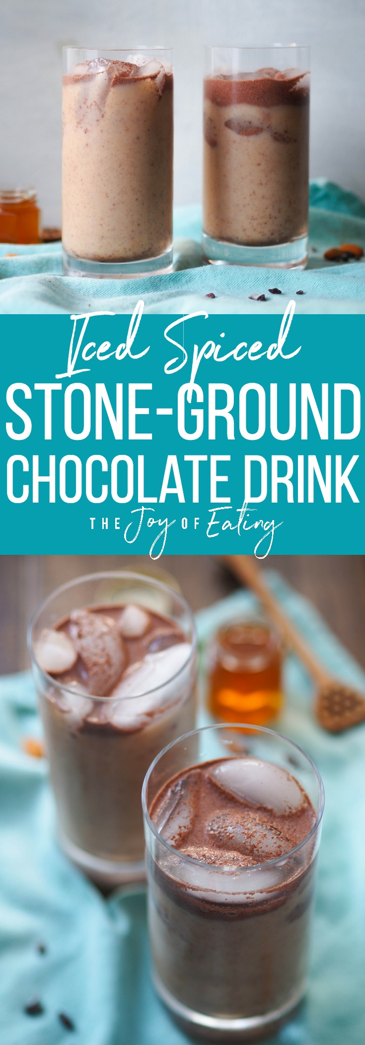 This iced spiced stone ground chocolate drink is the most refreshing drink you'll have this summer! Spiced with chili, vanilla, almond and cinnamon! #chocolate #drink #beverage #vegan