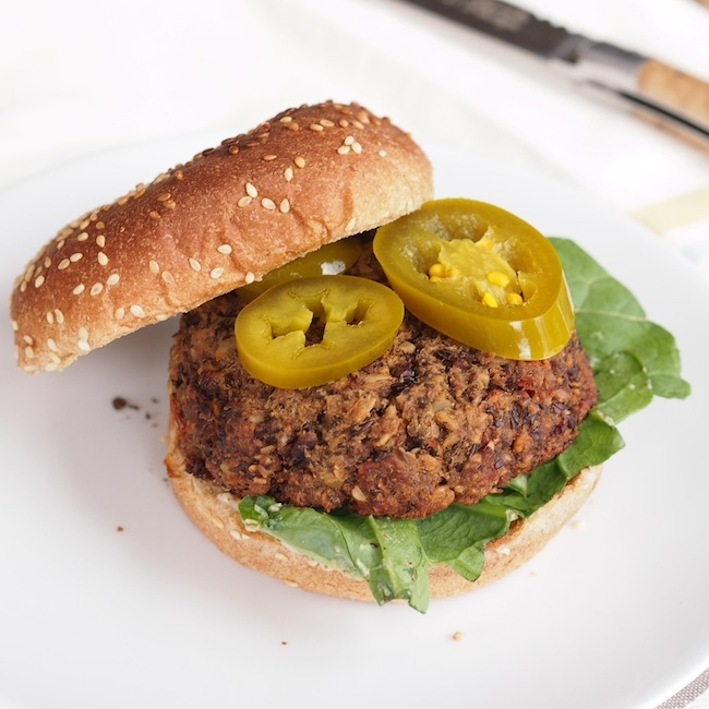 Spicy Lentil and Mushroom Burger