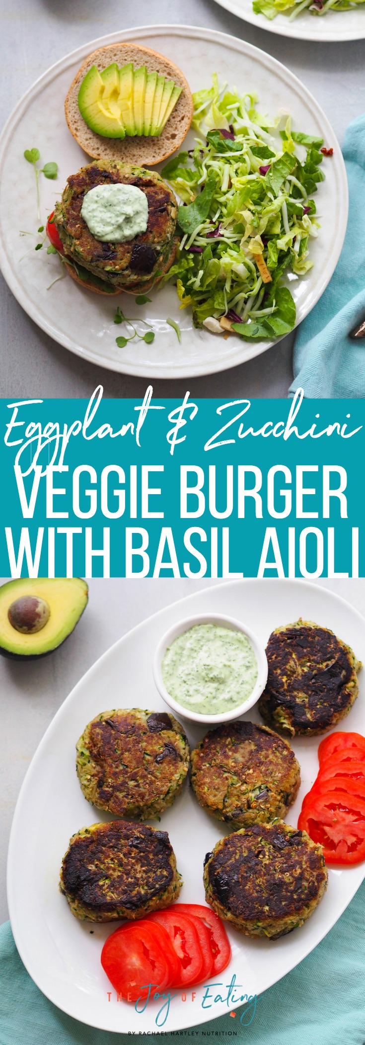 This eggplant and zucchini veggie burger with basil aioli is the perfect veggie burger for summer! #veggieburger #eggplant #zucchini #vegetarian