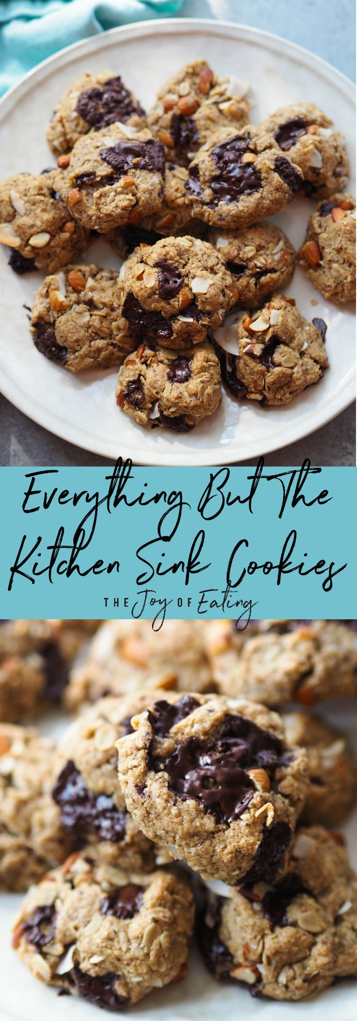 Everything but the kitchen sink cookies are loaded with crunchy almonds, dark chocolate, toasted coconut and oats! Gluten free, vegan and made with whole grains! #cookie #glutenfree #vegan #wholegrain #snack #dessert #baking