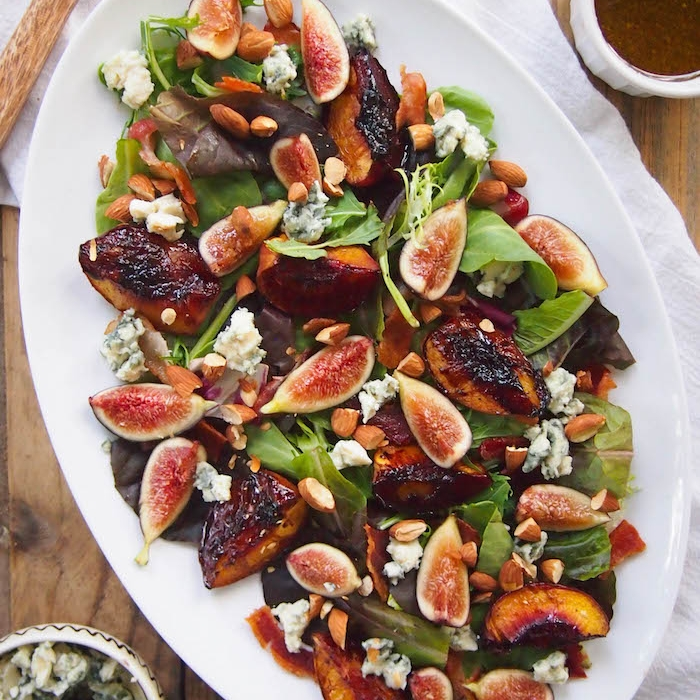 Balsamic Roasted Peach and Fig Salad with Bacon and Blue Cheese