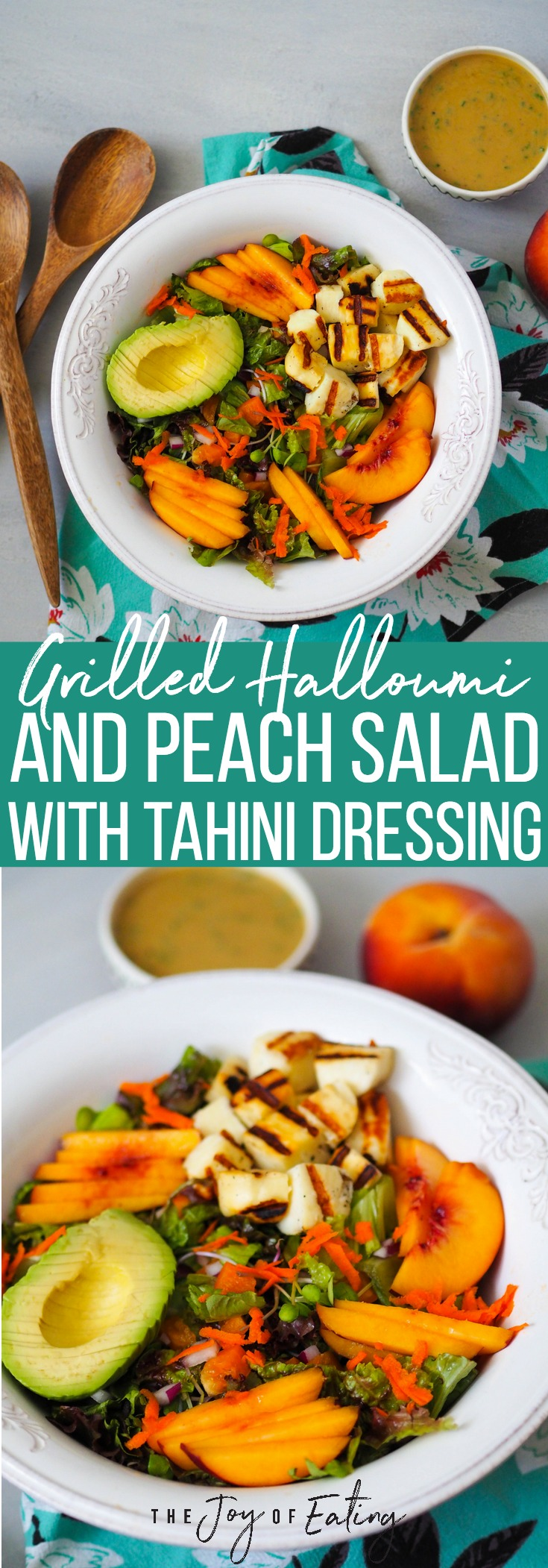 This summer grilled halloumi and peach salad with lemon-tahini dressing is so easy to make! #vegetarian #healthyrecipe #peach #halloumi #glutenfree #summer