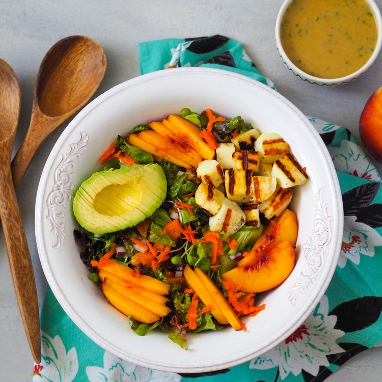 Grilled Halloumi and Peach Salad with Tahini Dressing