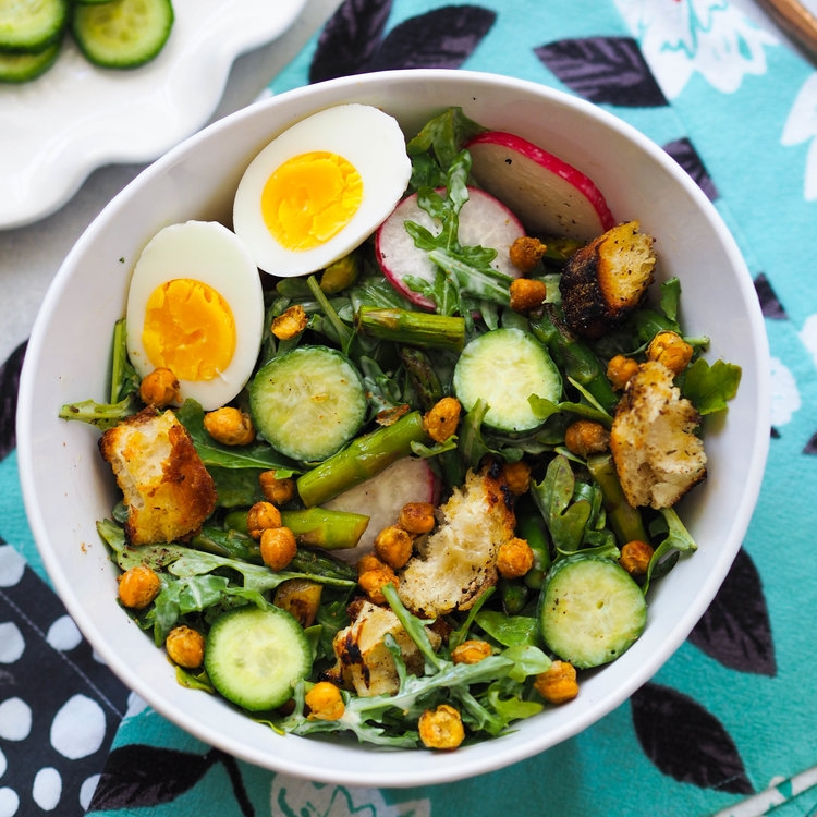 Spring Caesar Salad with Garlicky Croutons