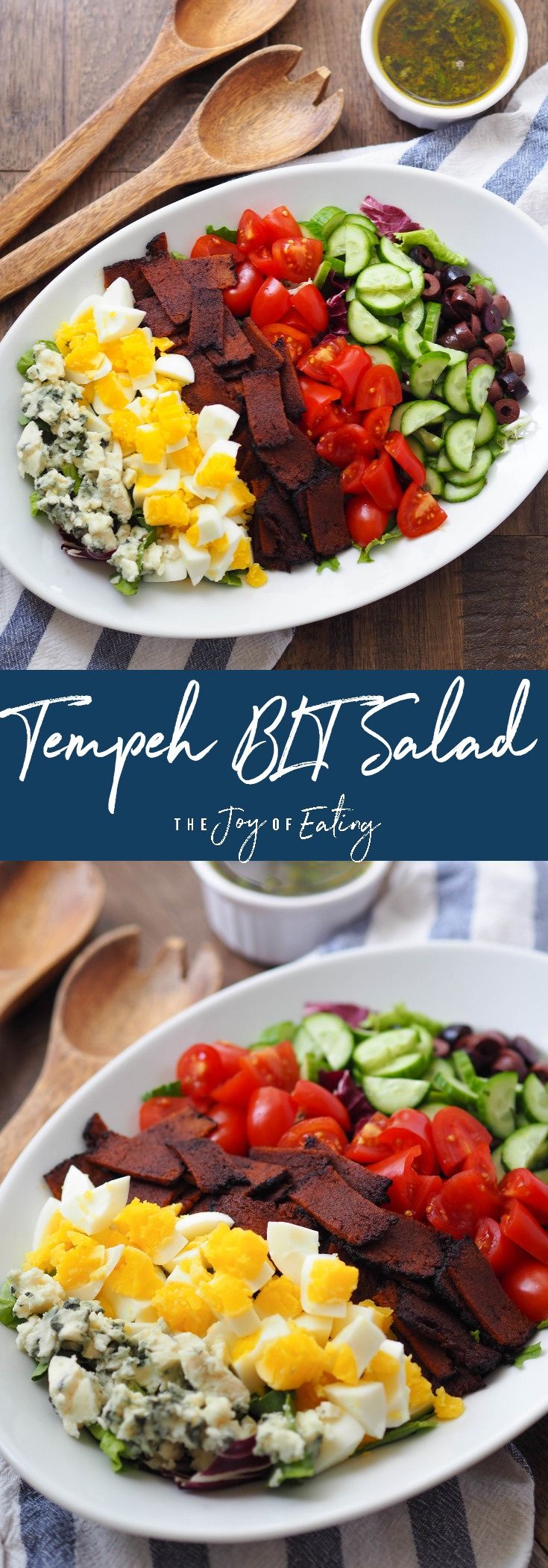 Make this vegetarian tempeh BLT salad! Super easy and packed with flavor and protein! #tempeh #blt #salad #healthyrecipe #meatless #recipe