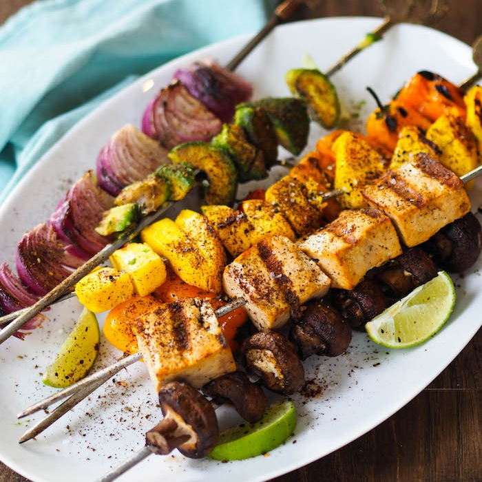 Tropical Tofu Kebabs with Mango and Avocado