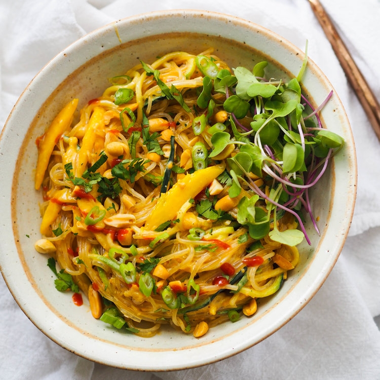Kelp Noodle and Mango Salad with Peanut Sauce
