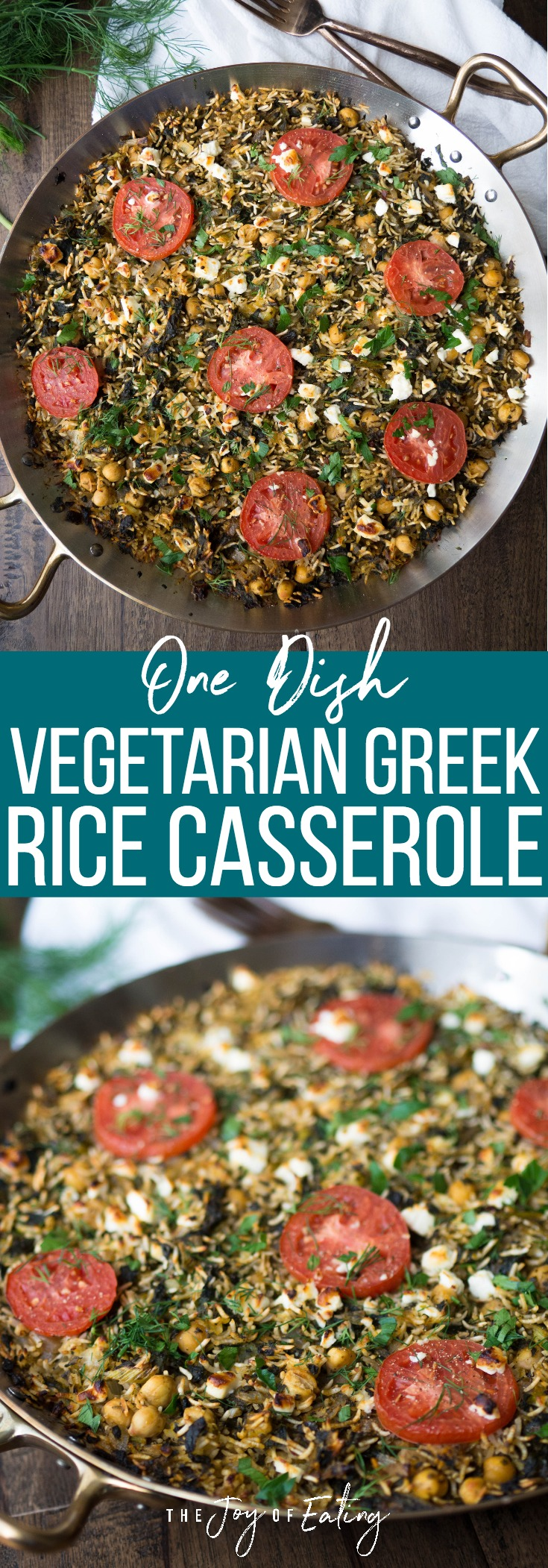 This vegetarian Greek rice casserole is made in one dish! Just bake rice with chickpeas, spinach, sauteed garlic and onions, tons of fresh herbs and lemon! Top it off with feta cheese! #greekrecipe #onedish #easyrecipe #vegetarian #healthyrecipe #chickpea