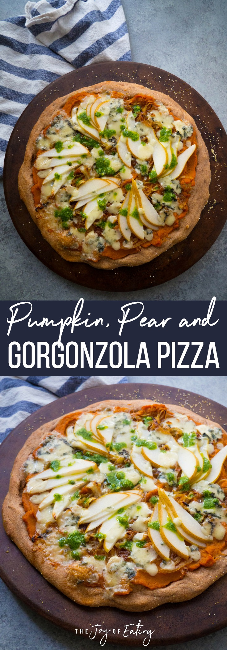 This easy pumpkin, pear and gorgonzola pizza with caramelized onions is super easy to make! Perfect weeknight dinner for fall! #pizza #fall #pumpkin #healthyrecipe
