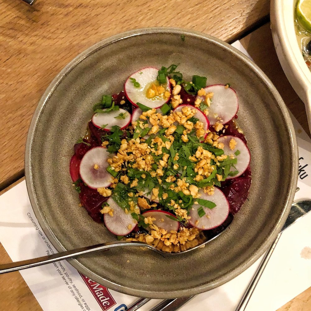 Curried red beets with peanuts, radishes and citrus